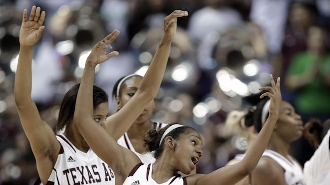Texas A&M's Jordan Jones (24) and her teammates celebrate their 71-45 win over Wichita State in a first-round game in the NCAA women's college basketball tournament in College Station, Texas, Saturday, March 23, 2013. (AP Photo/Pat Sullivan)