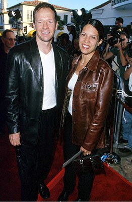 Premiere: Donnie Wahlberg with his wife at the Mann's Village Theater premiere of Warner Brothers' The Perfect Storm - 6/26/2000