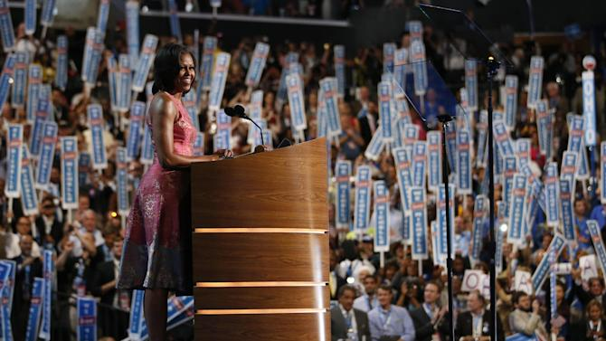 First Lady Michelle Obama addresses the Democratic National Convention in Charlotte, N.C., on Monday, Sept. 3, 2012. (AP Photo/Jae C. Hong)