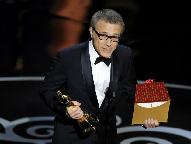 Actor Christoph Waltz accepts the award for best actor in a supporting role for &quot;Django Unchained&quot; during the Oscars at the Dolby Theatre on Sunday Feb. 24, 2013, in Los Angeles. (Photo by Chris Pizzello/Invision/AP)