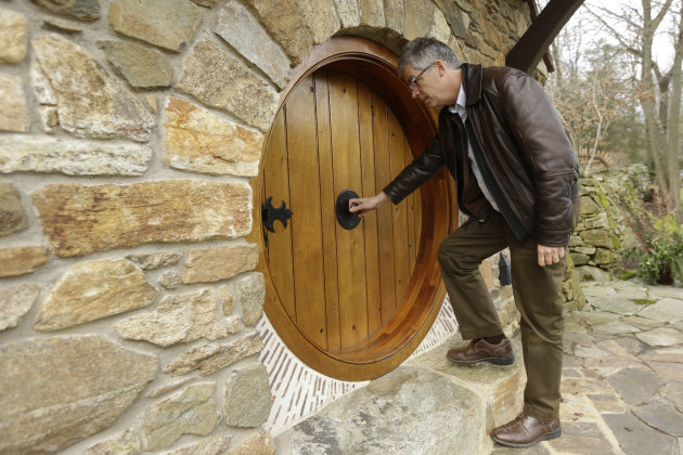 "Architect Peter Archer enters the ""Hobbit House"" during and interview with the Associated Press Tuesday, Dec. 11, 2012, in Chester County, near Philadelphia. Archer has designed a ""Hobbit House"" containing a world-class collection of J.R.R. Tolkien manuscripts and memorabilia. (AP Photo/Matt Rourke)"