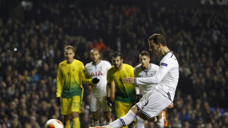 Tottenham Hotspur's Roberto Soldado scores a penalty to complete his hat trick against Anzhi Makhachkala during their Europa League soccer match at White Hart Lane in London