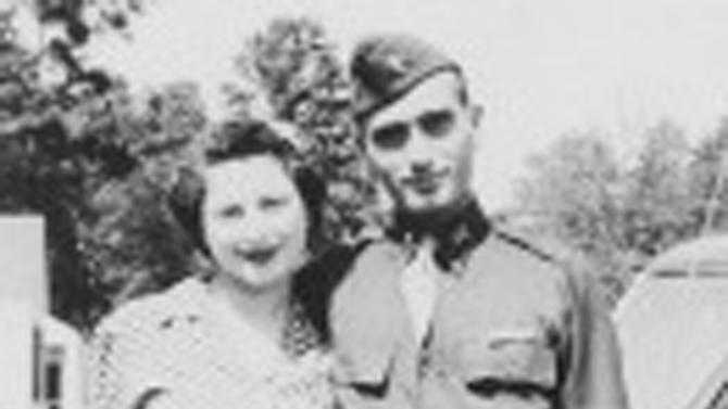 This undated image provided by Hyla Merin shows 2nd Lt. Hyman Markel with his bride, Celia Markel. Markel was a rabbi's son, brilliant at mathematics, the brave winner of a Purple Heart who died in 1945. Markel was killed on May 3, 1945, in Italy's Po Valley while fighting German troops as an officer with the 88th Division of the 351st Infantry Regiment. (AP Photo/Hyla Merin)