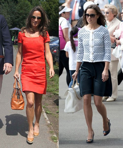 Pippa Middleton at Wimbledon 2011 (left) and 2012 (right) © Rex