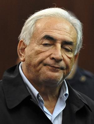 Dominique Strauss-Kahn, head of the International Monetary Fund, is  arraigned Monday, May 16, 2011, in Manhattan Criminal Court for an alleged attack on a maid who went into his penthouse suite at a hotel near Times Square on Saturday to clean it, in New York. Strauss-Kahn must remain jailed at least until his next court hearing for attempted rape and other charges, a judge said Monday.   (AP Photo/Richard Drew, Pool)