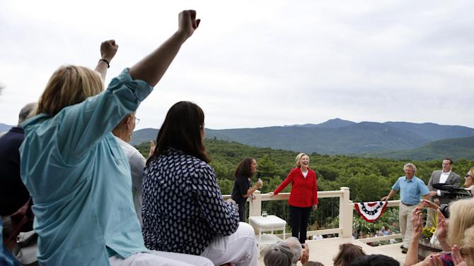 Democratic presidential candidate Hillary Rodham Clinton speaks at at organizing event at a private residence, Saturday, July 4, 2015, in Glen, N.H. (AP Photo/Robert F. Bukaty)