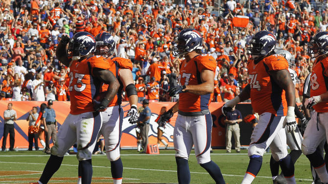 Denver Broncos running back Willis McGahee (23) reacts after scoring a touchdown against the Oakland Raiders during the third quarter of an NFL football game, Sunday, Sept. 30, 2012, in Denver. (AP Photo/David Zalubowski)