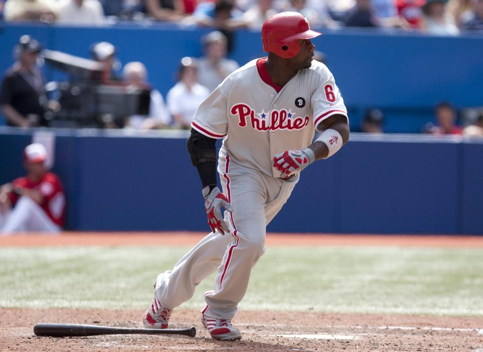 Philadelphia Phillies' Ryan Howard heads to first base after hitting an RBI single agianst the Toronto Blue Jays  during the ninth inning of an interleague baseball game in Toronto on Friday  June 1, 2011. (AP Photo/The Canadian Press, Chris Young)