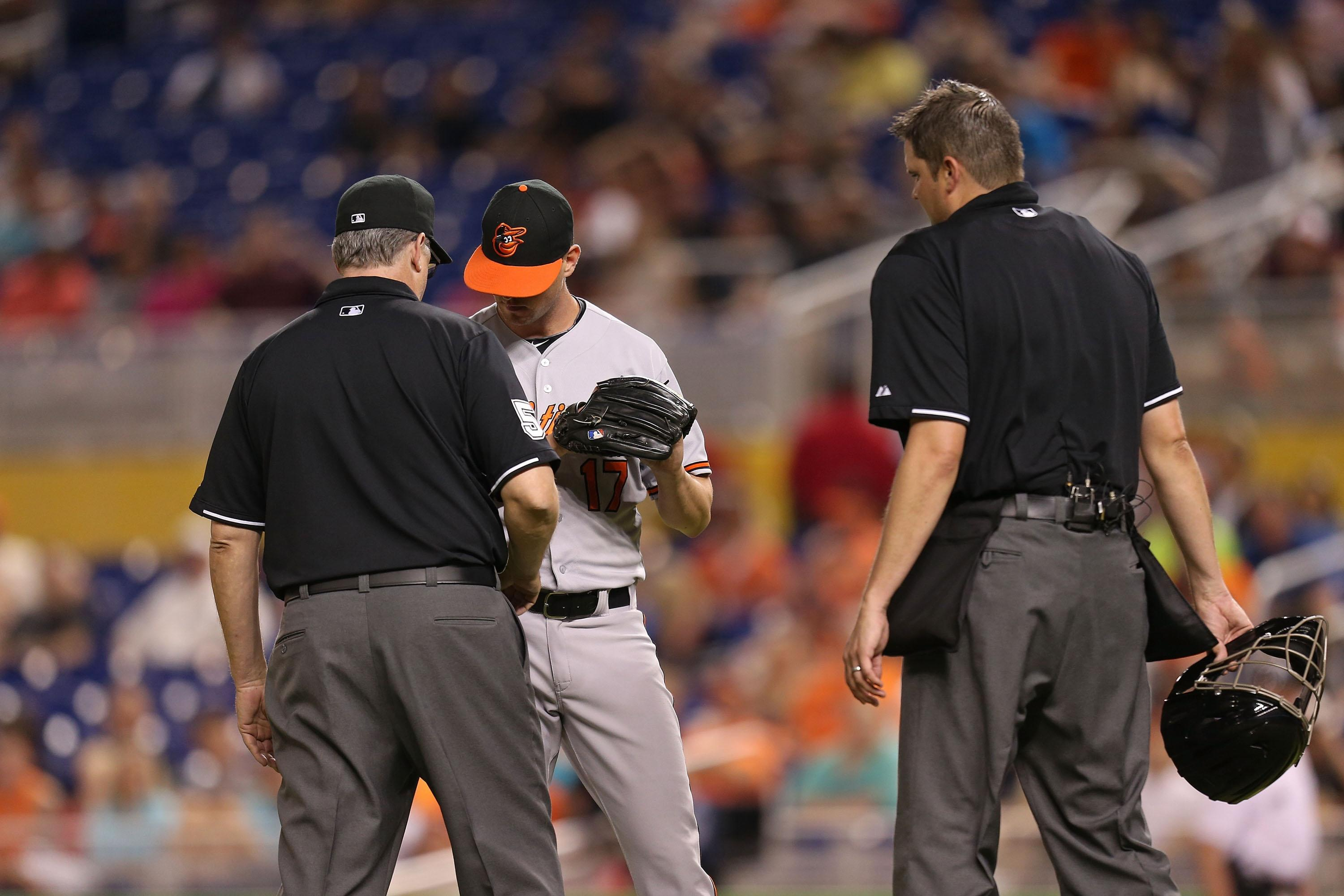 Brian Matusz ejected for having foreign substance on arm