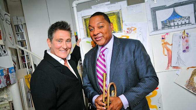 """This Sept. 7, 2013 photo released by the O&M Co. shows k.d. lang, left, and Wynton Marsalis in New York. Lang will take over from Fantasia Barrino as the second star vocalist in """"After Midnight,"""" a musical celebrating Duke Ellington's years at the famous Cotton Club nightclub in Harlem. Lang starts performances Feb. 11 and will end her run March 9. (AP Photo/The O&M Co., Jenny Anderson)"""