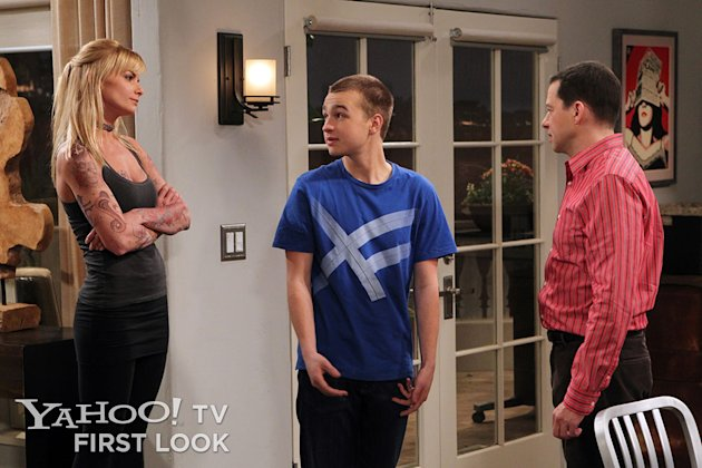 """Paint It, Pierce It Or Plug It"" -- Alan has concerns when Jake brings his 36-year-old girlfriend home for a visit. Meanwhile, Walden tries to keep a secret from Alan, on ""Two and a Half Men,"" Thursday, Feb. 7 (8:31 ? 9:01 PM, ET/PT) on the CBS Television Network.  Jamie Pressly guest stars as Tammy, Jake?s love interest. Left to right: Jamie Pressly (Tammy), Angus T. Jones (Jake) and Jon Cryer (Alan)."