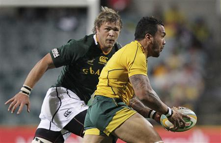South Africa's Springboks' Vermeulen moves in on Australia's Wallabies' Ioane during their Rugby Championship test match in Perth