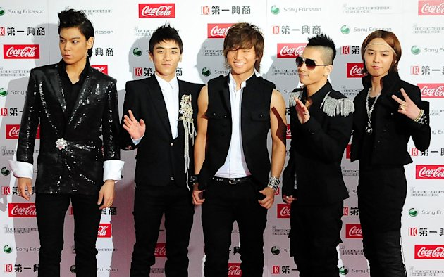Big Bang pose on the red carpet during the MTV Video Music Awards Japan 2009 at Saitama Super Arena on May 30, 2009 in Saitama, Japan.