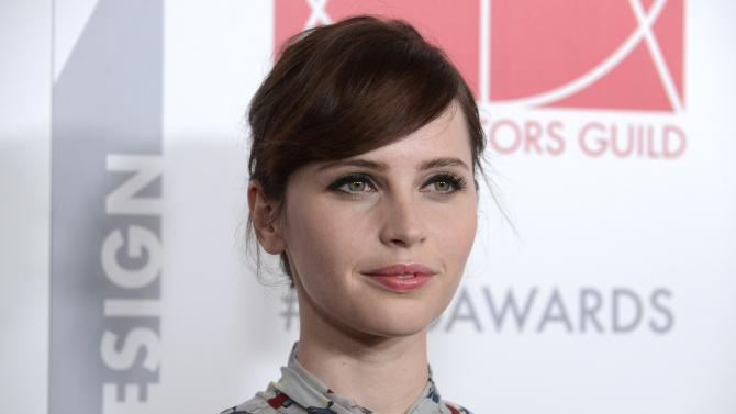 Felicity Jones attends the19th annual Art Directors Guild Excellence in Production Design awards in Beverly Hills, California