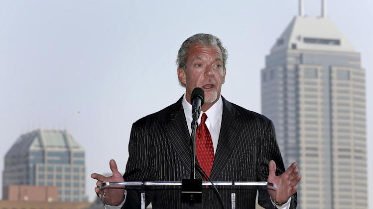 Indianapolis Colts owner Jim Irsay talks the city's bid for the NFL football's 2018 Super Bowl during an announcement in front of the downtown skyline in Indianapolis, Friday, Aug. 30, 2013. The city hosted the 2012 Super Bowl. (AP Photo/Michael Conroy)