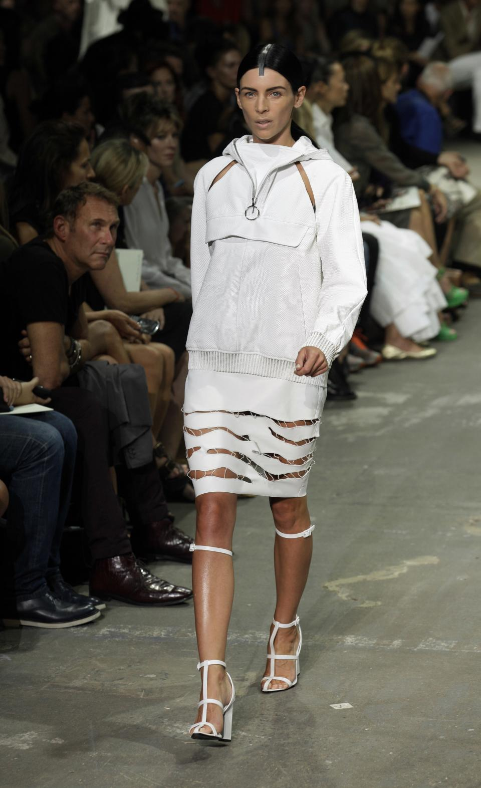Liberty Ross models during the Alexander Wang Spring 2013 collection, during Fashion Week in New York,  Saturday, Sept. 8, 2012. (AP Photo/Richard Drew)
