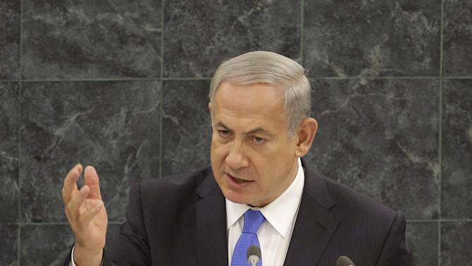 Israeli Prime Minister Benjamin Netanyahu speaks during the 68th session of the General Assembly at United Nations headquarters, Tuesday, Oct. 1, 2013. (AP Photo/Seth Wenig)