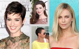 Hair Transformations: Anne Hathaway and Charlize Theron. Photos by Keystone Press and Getty Images