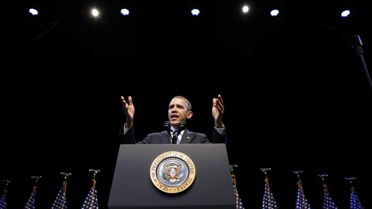 U.S. President Obama speaks about the economy at an event hosted by the Center for American Progress in Washington