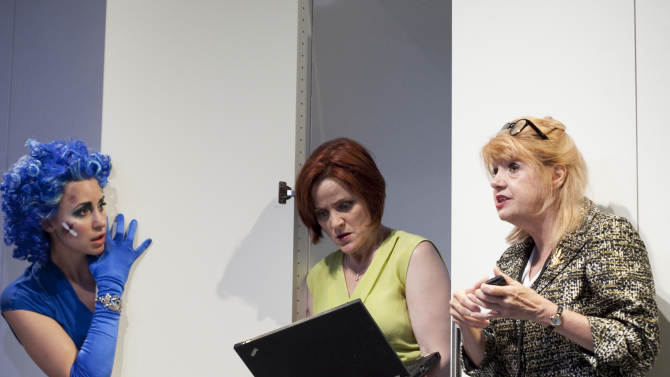 "This photo released by The Bruce Cohen Group shows, from left, Alexandra Henrikson, Erika Rolfsrud and Annie Golden, in a scene from Women's Project Theater's new comedy, ""We Play For The Gods,"" performing off-Broadway at the Cherry Lane Theatre in New York.  (AP Photo/Bruce Cohen Group, Chasi Annexy)"