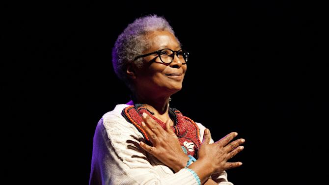 "This photo released by PBS shows Alice Walker at the London premiere of American Masters ""Alice Walker: Beauty In Truth,"" in London. PBS will commemorate Black History Month with programs including a profile of ""The Color Purple"" author Walker. The public television service announced Tuesday, Jan. 21, 2014, that the Walker profile will air Feb. 7, 2014, as part of the ""American Masters"" series. (AP Photo/PBS, Brenda Lawley)"