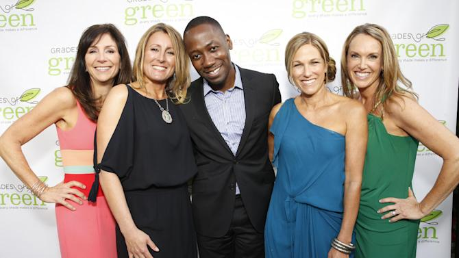 Founders of Grades of Green Suzanne Kretschmer, Lisa Coppedge, actor Lamorne Morris, Kim Lewand Martin and Shaya Kirkpatrick attend VERTE Grades of Green's annual fundraising event to benefit environmental education at Bel-Air Bay Club on April 11, 2013 in Pacific Palisades, California (Photo by Todd Williamson/Invision for Fox/AP Images)