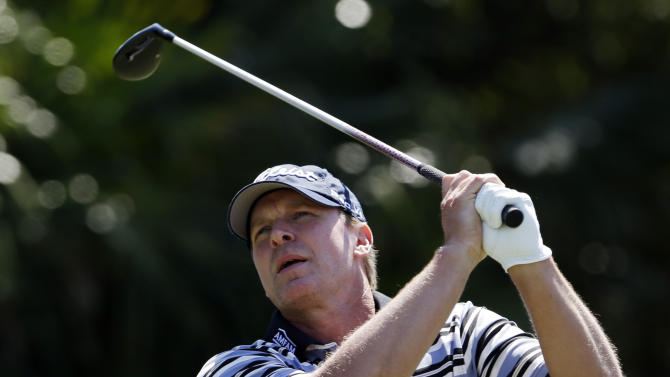 Steve Stricker hits from the 12th tee during the second round of the Cadillac Championship golf tournament Friday, March 8, 2013, in Doral, Fla. (AP Photo/Alan Diaz)