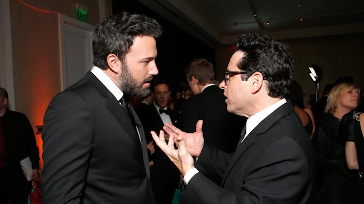 Ben Affleck and J.J. Abrams are seen backstage during the cocktail reception at the 24th Annual Producers Guild (PGA) Awards at the Beverly Hilton Hotel on Saturday Jan. 26, 2013, in Beverly Hills, Calif. (Photo by Todd Williamson/Invision for The Producers Guild/AP Images)