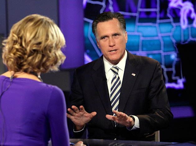 Republican presidential candidate, former Massachusetts Gov. Mitt Romney is interviewed by Megyn Kelly during a segment of &quot;America Live&quot; on the Fox News Channel, in New York, Wednesday, March 14, 2012. (AP Photo/Richard Drew)