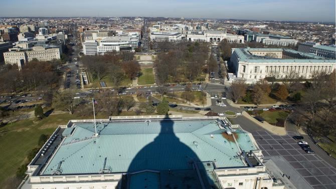 A view north from atop the U.S. Capitol dome shows Union Station and the Russell Senate Office Building during a media tour in Washington