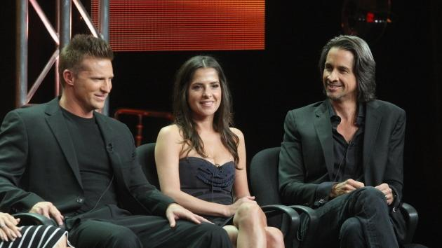 Steve Burton, actress Kelly Monaco and actor Michael Easton speak onstage at the 'General Hospital' panel during day 6 of the Disney ABCTelevision Group portion of the 2012 Summer TCA Tour at The Beverly Hilton Hotel on July 26, 2012 -- Getty Images