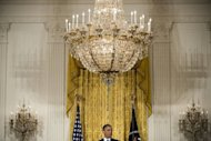 US President Barack Obama during a press conference in the East Room of the White House January 14, 2013 in Washington