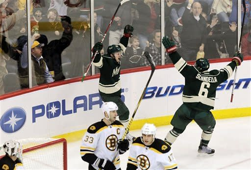 Backstrom stops 48 shots and Wild blank Bruins 2-0