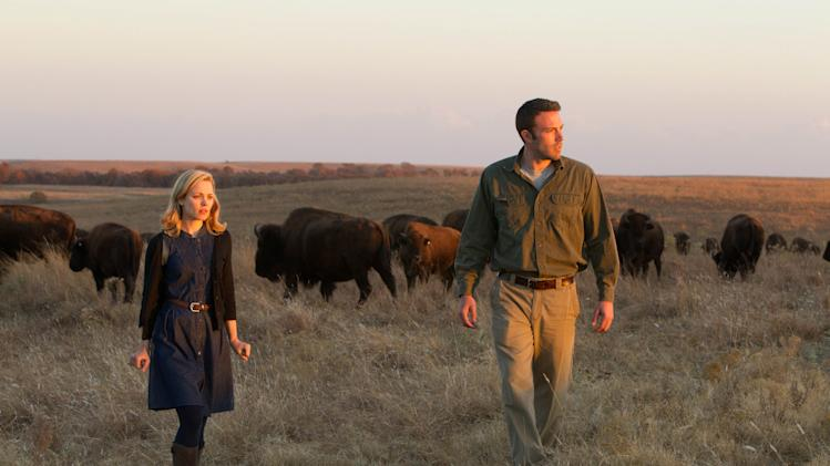 "This undated photo provided by Magnolia Pictures shows Ben Affleck and Rachel McAdams in a scene from, ""To the Wonder."" (AP Photo/Magnolia Pictures, Mary Cybulski)"