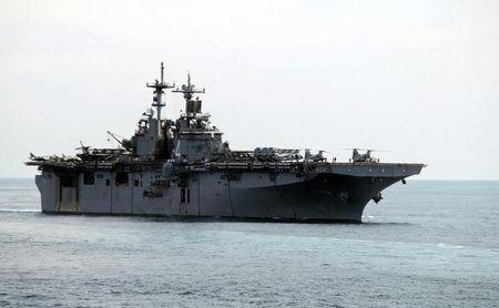 A USS Boxer LHD travels at an offshore location in Goa
