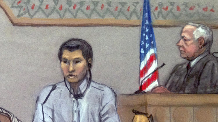 FILE - In this June 2, 2014, file courtroom sketch, Dias Kadyrbayev, left, testifies in federal court in Boston. Kadyrbayev, a native of Kazakhstan and friend of Boston Marathon bombing suspect Dzhokhar Tsarnaev, is charged with obstruction of justice and conspiracy for allegedly removing a backpack containing fireworks from Tsarnaev's dorm room after realizing he was suspected of carrying out the deadly 2013 attack. Kadyrbayev is scheduled to be in federal court in Boston, Thursday, Aug. 21, 2014 where he is expected to plead guilty to the charges. He was to go on trial in September. (AP Photo/Jane Flavell Collins, File)