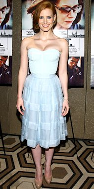 Jessica Chastain in an ice blue Dior Haute Couture dress