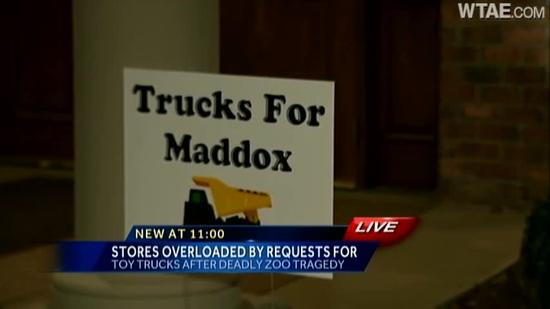 Hundreds of toy trucks donated after Maddox Derkosh dies in Pittsburgh Zoo accident