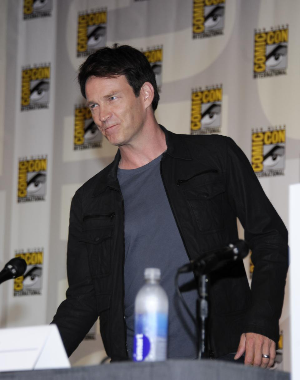 Actor Stephen Moyer arrives at the True Blood panel on the third day of Comic-Con convention held at the San Diego Convention Center on Saturday, July 14, 2012, in San Diego.  (Photo by Denis Poroy/Invision/AP)