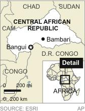 Map locates the Central African Republic