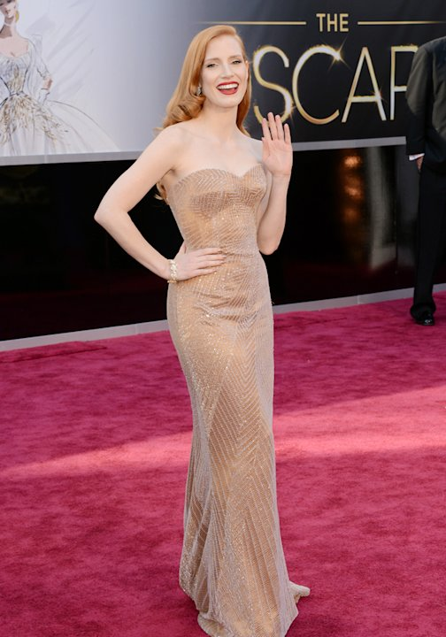 Jessica Chastain hit the red carpet in a nude gown with a delicate silver thread pattern overlayGetty