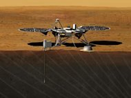 Artist rendition of the proposed InSight (Interior exploration using Seismic Investigations, Geodesy and Heat Transport) Lander. The mission will launch in 2016.