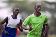 Reigning Olympic 3,000 metres steeplechase champion Brimin Kipruto (right) goes through the paces 2012 with compatriot, African champion Abel Mutai, during a training session at the Kenyan capital, Nairobi. Kipruto has predicted Kenya&#39;s winning streak in the race is set to continue in the London Olympics, having dominated the event since 1984