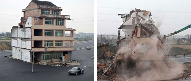 The famous &quot;nail house&quot; was demolished over the weekend to complete the newly built road (Rex)