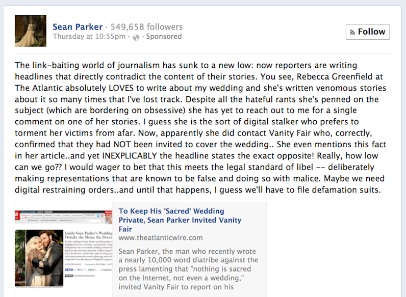 Sean Parker Wedding Facebook