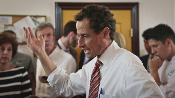 """Anthony Weiner, New York mayoral candidate, speaks during a news conference, Thursday, July 25, 2013, in New York. Weiner introduced his proposal for a """"non profit czar"""" should he become mayor, but a new poll suggests his new sexting scandal is taking a toll on his mayoral prospects. (AP Photo/Bebeto Matthews)"""