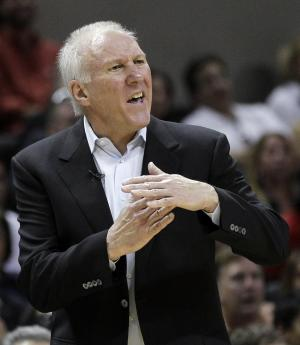 San Antonio Spurs head coach Gregg Popovich argues after he was charged with a technical foul during the fourth quarter of Game 1 of a first-round NBA basketball playoff series against the Utah Jazz, Sunday, April 29, 2012, in San Antonio. San Antonio won 106-91.(AP Photo/Eric Gay)