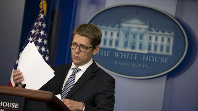 White House press secretary Jay Carney listens to a question during the daily press briefing, Thursday, June 13, 2013, at the White House in Washington. Carney discussed the ongoing conflict in Syria, immigration reform, and several other topics. (AP Photo/Evan Vucci)