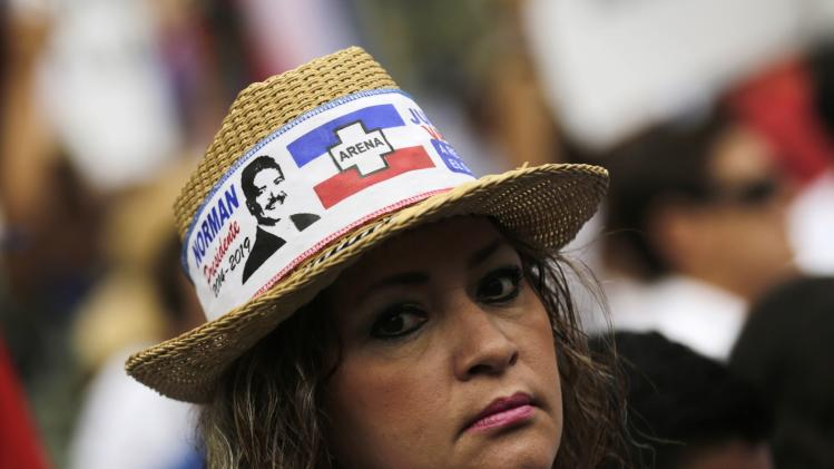 A supporter of Norman Quijano takes part in a protest regarding alleged electoral fraud in San Salvador