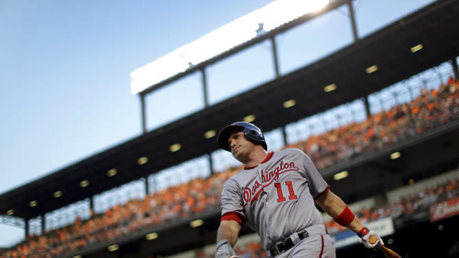 Washington Nationals' Ryan Zimmerman warms up before an at-bat in the fourth inning of an interleague baseball game against the Baltimore Orioles, Wednesday, May 29, 2013, in Baltimore. (AP Photo/Patrick Semansky)